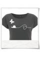 Schnecke & Schmetterling Frauen T-Shirt in Grau