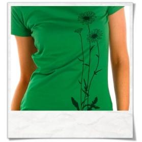 Frauen T-Shirt Blumen, Fair Wear & Biobaumwolle in Grün