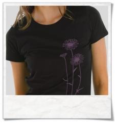 Blumen Frauen T-Shirt in Schwarz aus Biobaumwolle