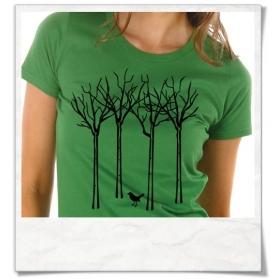 Frauen T-Shirt Vogel im Wald, Fair Wear & Biobaumwolle in Grün