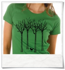 T-Shirt Bird & the forest for women in green